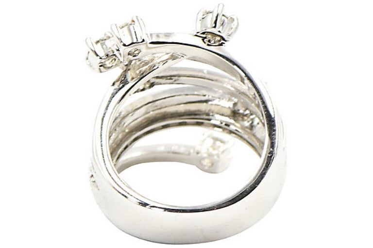 Women's Shooting Star Sterling Silver and Crystal Ring For Sale