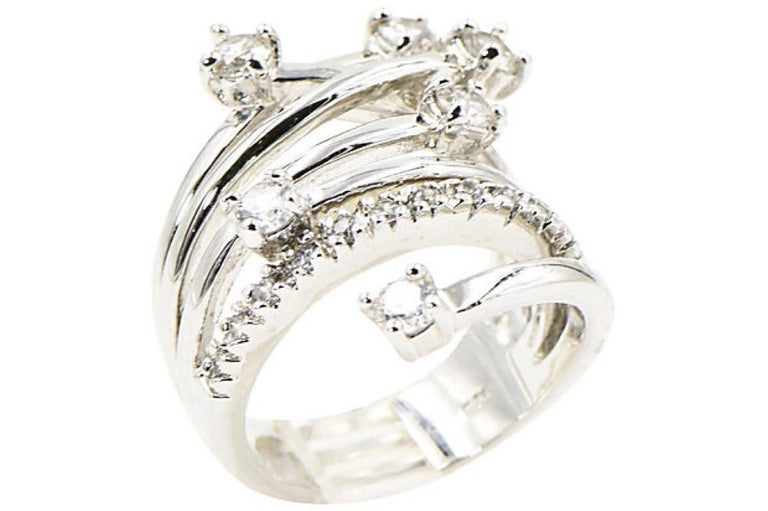 Shooting Star Sterling Silver and Crystal Ring For Sale 4