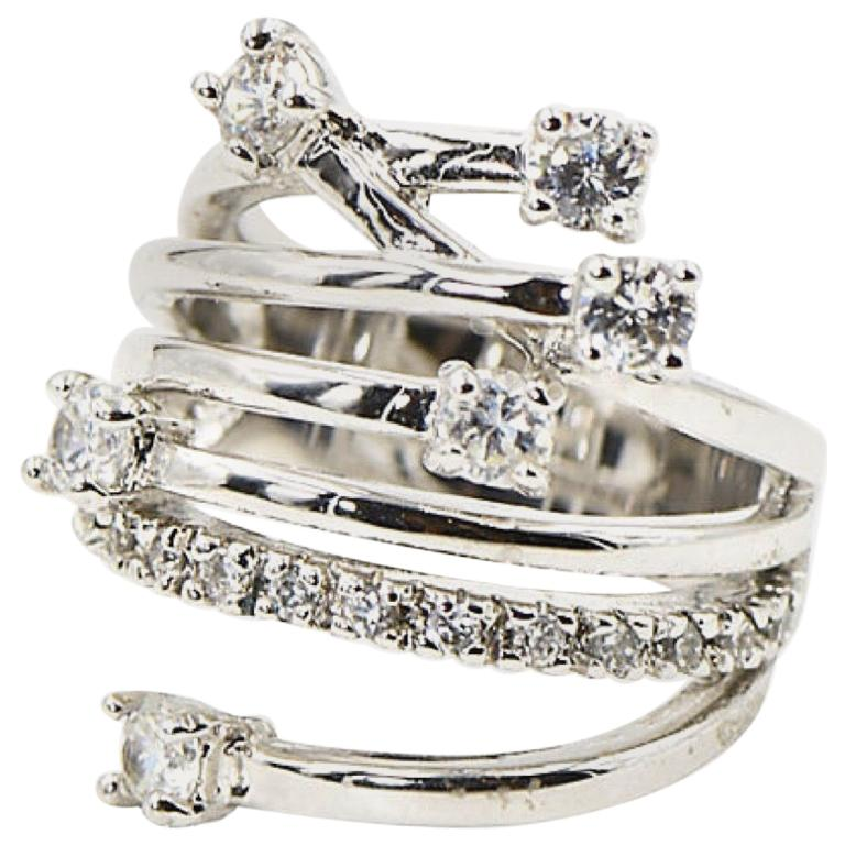 Shooting Star Sterling Silver and Crystal Ring For Sale
