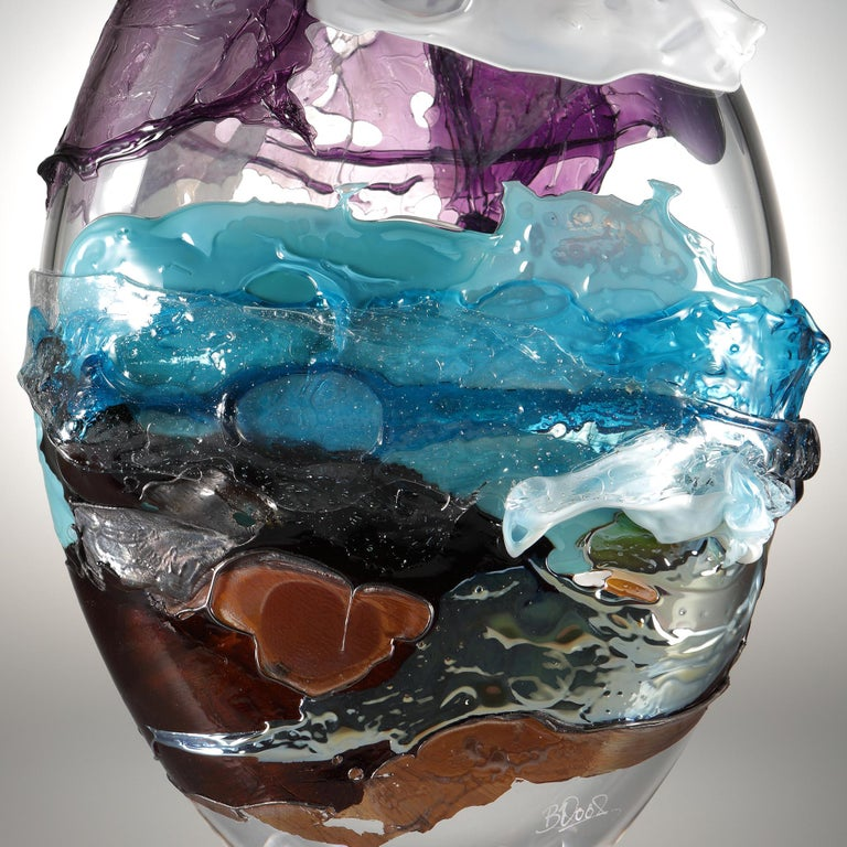 Organic Modern Shore II, a Blue, Purple, Brown and Mixed Colored Glass Vase by Bethany Wood For Sale