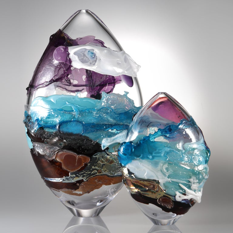 British Shore II, a Blue, Purple, Brown and Mixed Colored Glass Vase by Bethany Wood For Sale