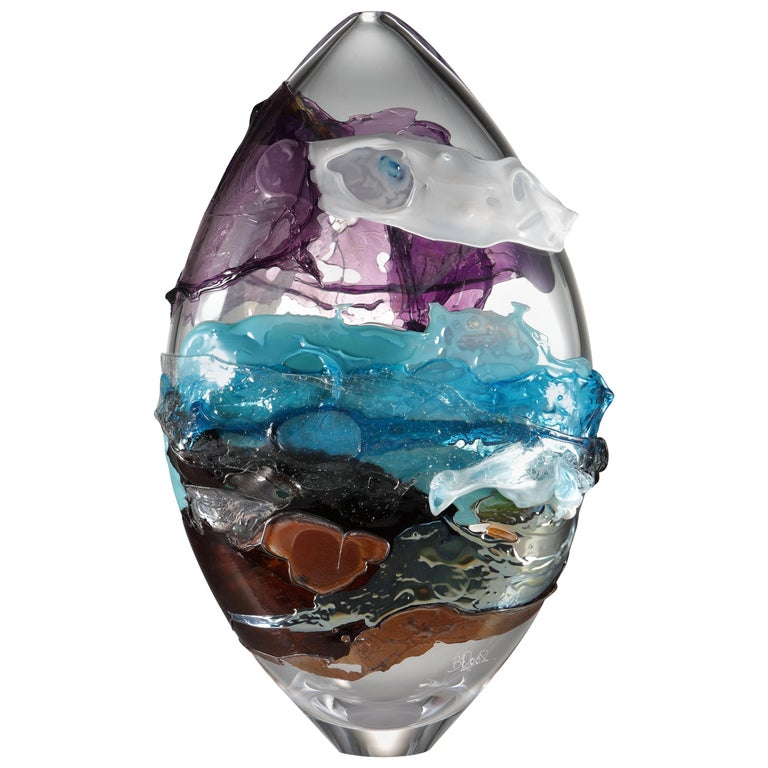 Shore II, a Blue, Purple, Brown and Mixed Colored Glass Vase by Bethany Wood For Sale