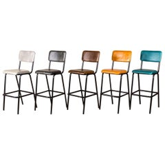 Shoreditch Tall Leather Bar Stools, 20th Century