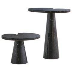 Short Angelo Mangiarotti Eros Side Table in Nero Marquina Marble
