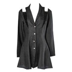 Short black linen dress with black lace ruffles Chantal Thomass