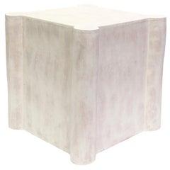Short Castle Contemporary Ceramic Side Table, Cream