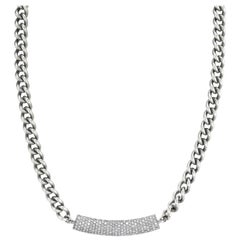 Short Curb Chain Necklace with Diamond Roll Bar