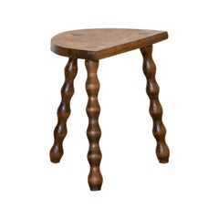 Short French Wood Tripod Stool