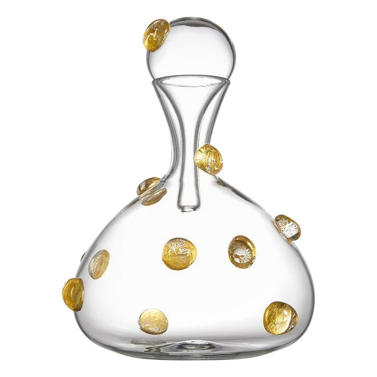Short Handblown Glass Wine Decanter with Raised Gold Dots by Vetro Vero For Sale