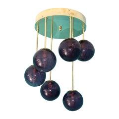 Short Midcentury Chandelier in Brass and Amethyst Purple 6 Murano Glass Globes