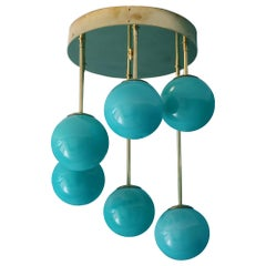 Short Midcentury Chandelier in Brass and Turquoise Blue 6 Murano Glass Globes