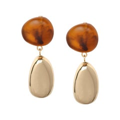 Resin and Brass Short Mineral Drop Earrings in Tortoiseshell
