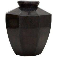 Short Octagonal Vase in Tessellated Black Stone, 1990s