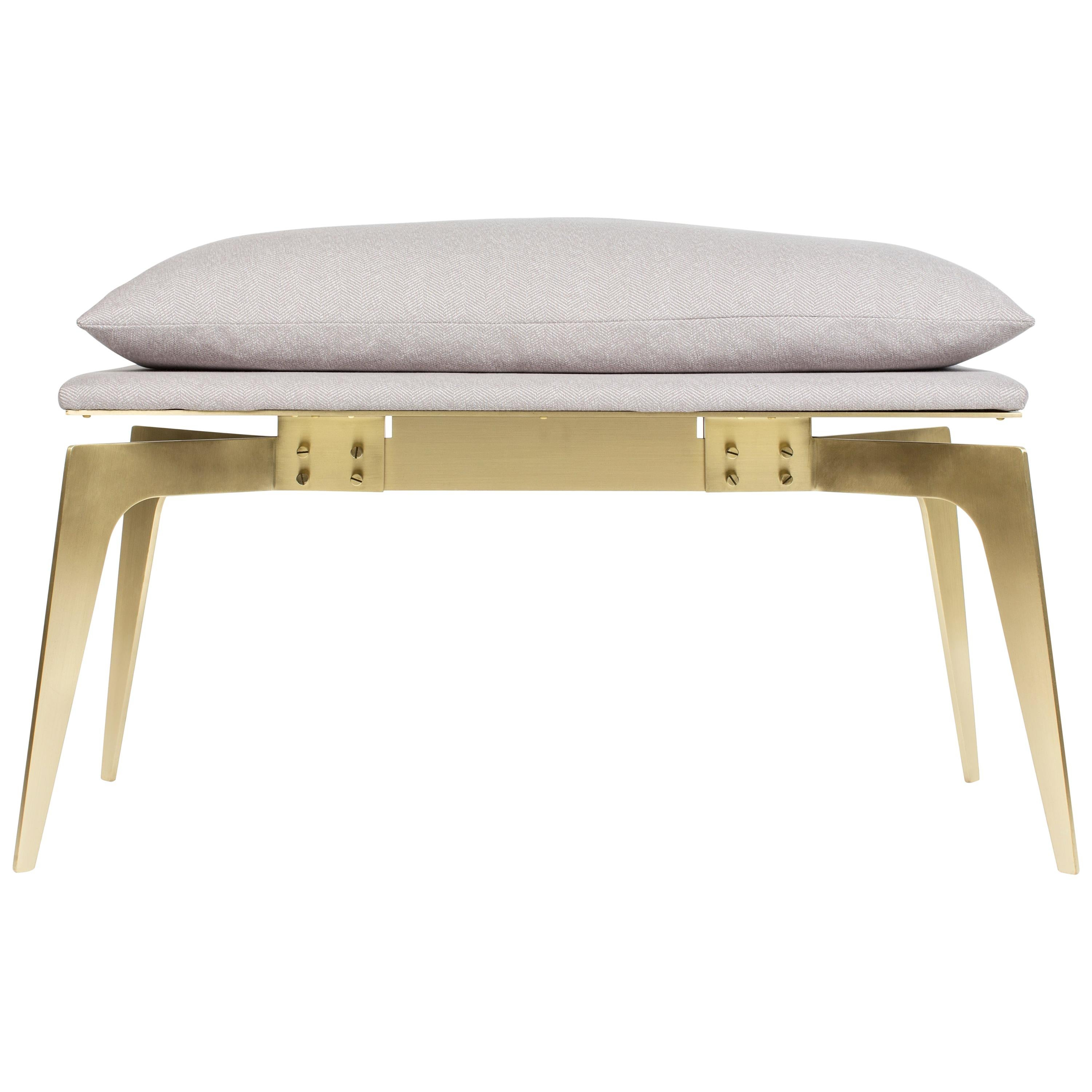 Short Prong Bench in Satin Brass Base with Upholstery by Gabriel Scott