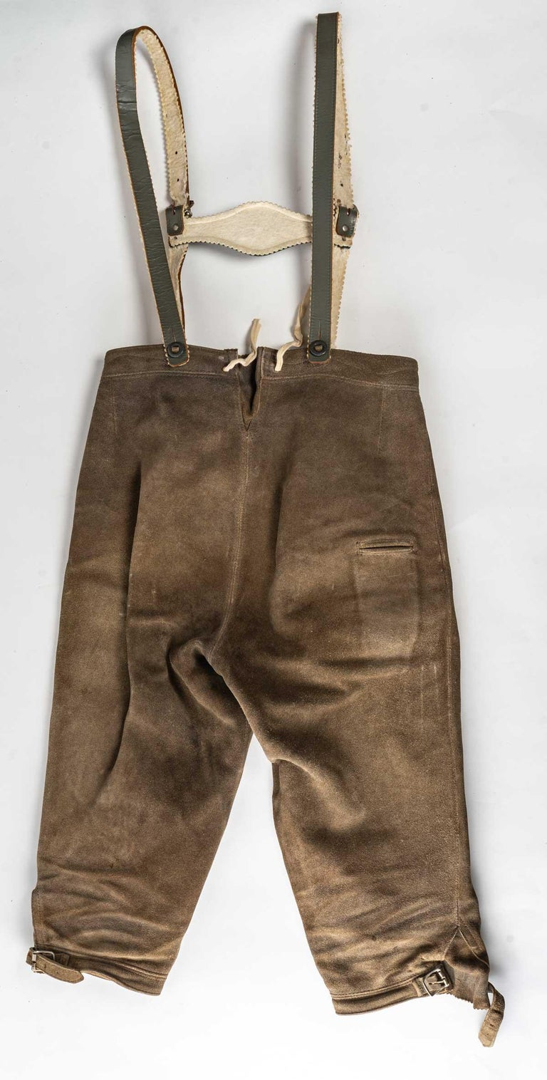 Short trousers with braces from Tyrol, early 20th century.  Measures: H: 70 cm, W: 60 cm, D: 2 cm.