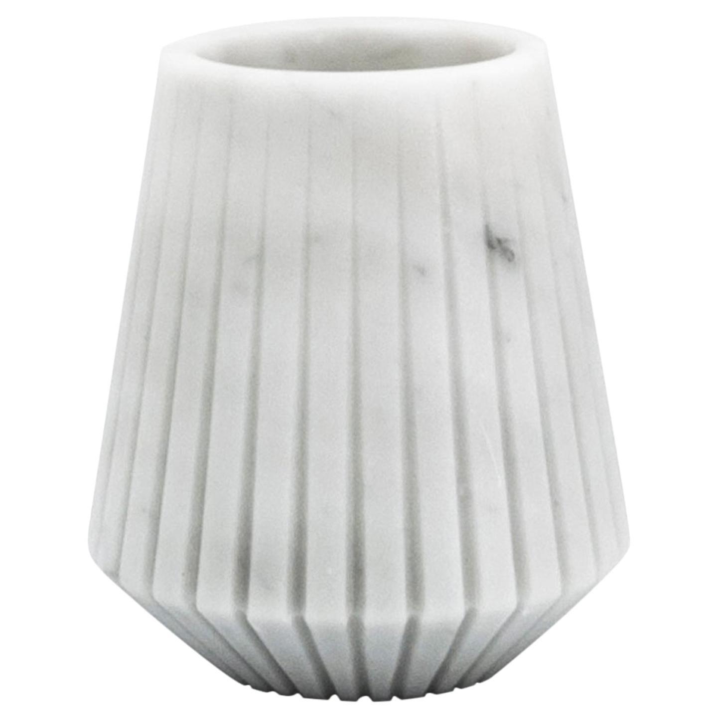 Short Vase in White Carrara Marble