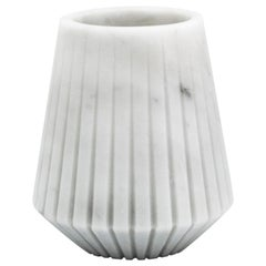 Short Vase in White Carrara Marble