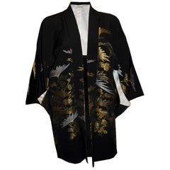 Short Vintage Kimono with Silver and Gold Decoration