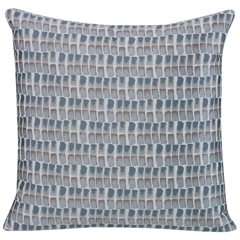 Shortstack Pillow in Gray and Blue by CuratedKravet For Sale
