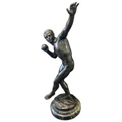 """""""Shotputter,"""" Large Bronze Sculpture of Nude Male Athlete, Exquisitely Sculpted"""