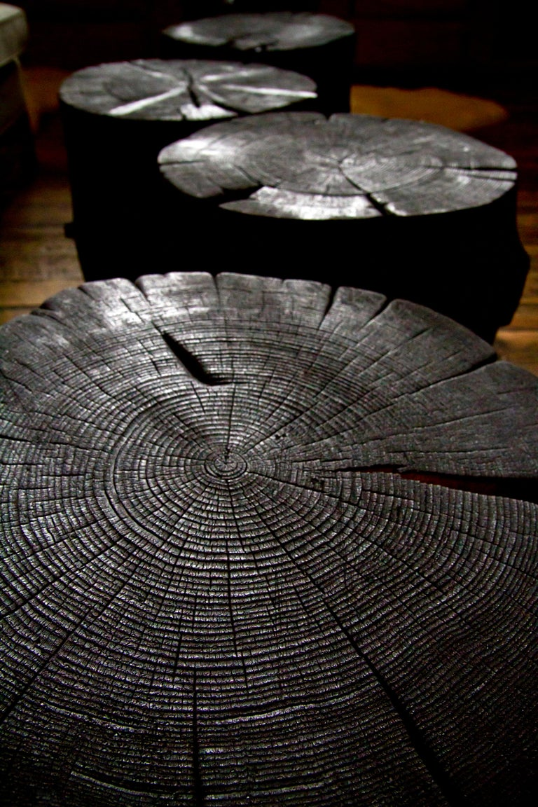 Blackened Rustic Burnt Black Wood Log Side Table/Coffee Table with or without Casters For Sale