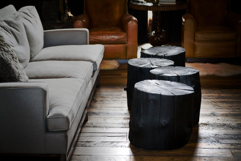 Rustic Burnt Black Wood Log Side Table/Coffee Table with or without Casters In New Condition For Sale In Bozeman, MT
