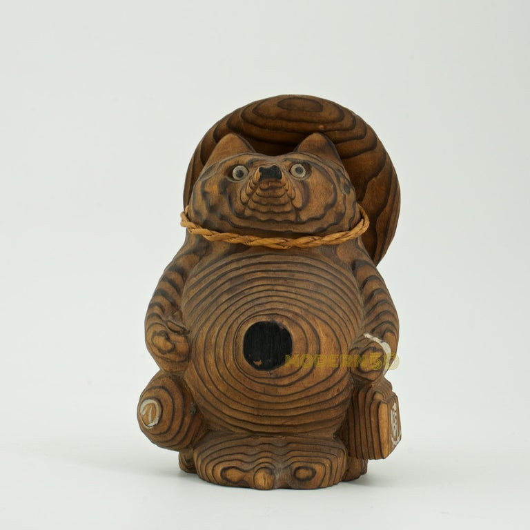Shou-sugi-ban Japanese Tanuki Sculpture Toy Vintage Mid-Century Modern  In Good Condition For Sale In Washington, DC
