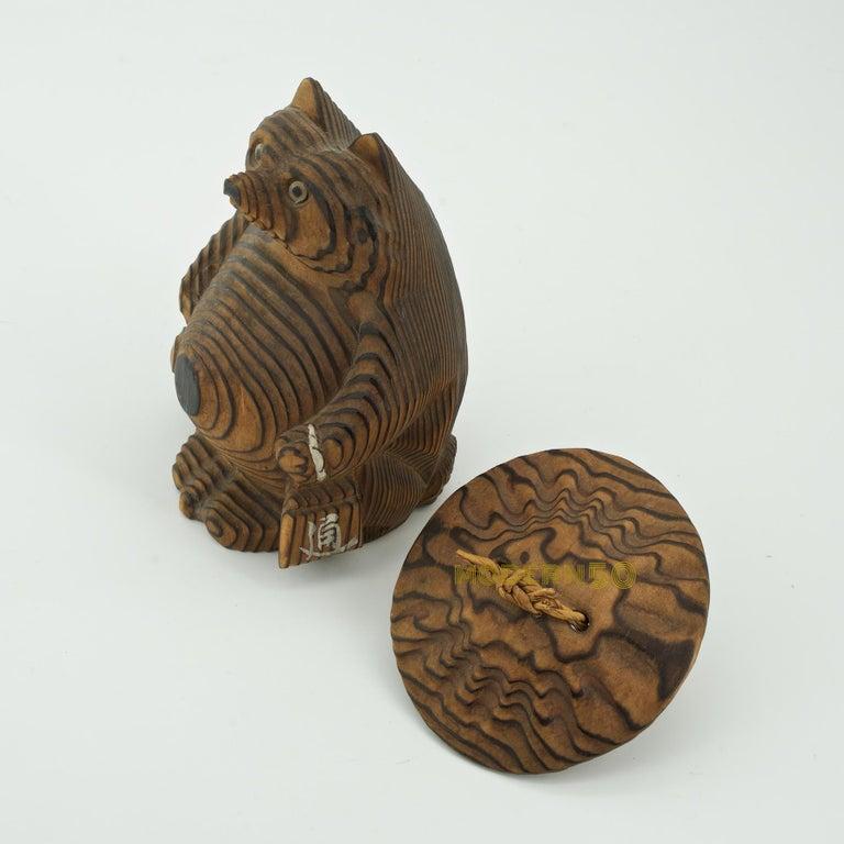 Wood Shou-sugi-ban Japanese Tanuki Sculpture Toy Vintage Mid-Century Modern  For Sale