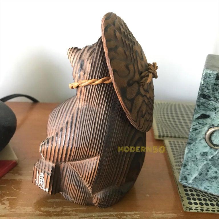 Shou-sugi-ban Japanese Tanuki Sculpture Toy Vintage Mid-Century Modern  For Sale 1