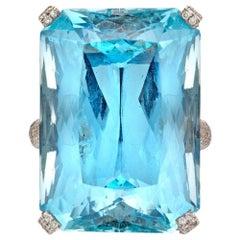A Large Aquamarine And Diamond Ring