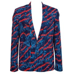 New Versace Jeans Printed Stretch Denim Blazer Jacket