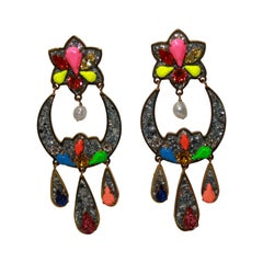Shourouk Glitter Drop Earrings