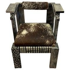Show Stealer Artisan Made Painted and Cowhide Armchair