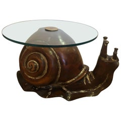 Show Stopper Carved Wood Snail Cocktail Coffee or Side Table