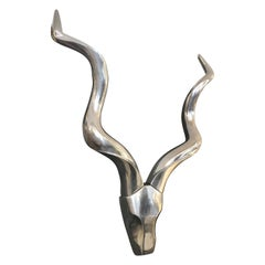 Show Stopper Chrome Stylized Kudu Head Wall Sculpture