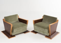 Show Stopper Pair of French Art Deco Club Chairs