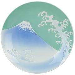 Showa Japanese 20th C Porcelain Fukugawa Wave and Mt. Fuji Scene Plate