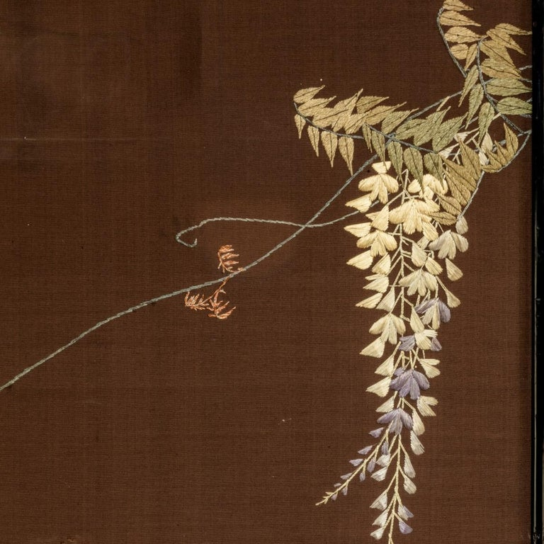 Showa Period Four Fold Embroidered Screen For Sale 4