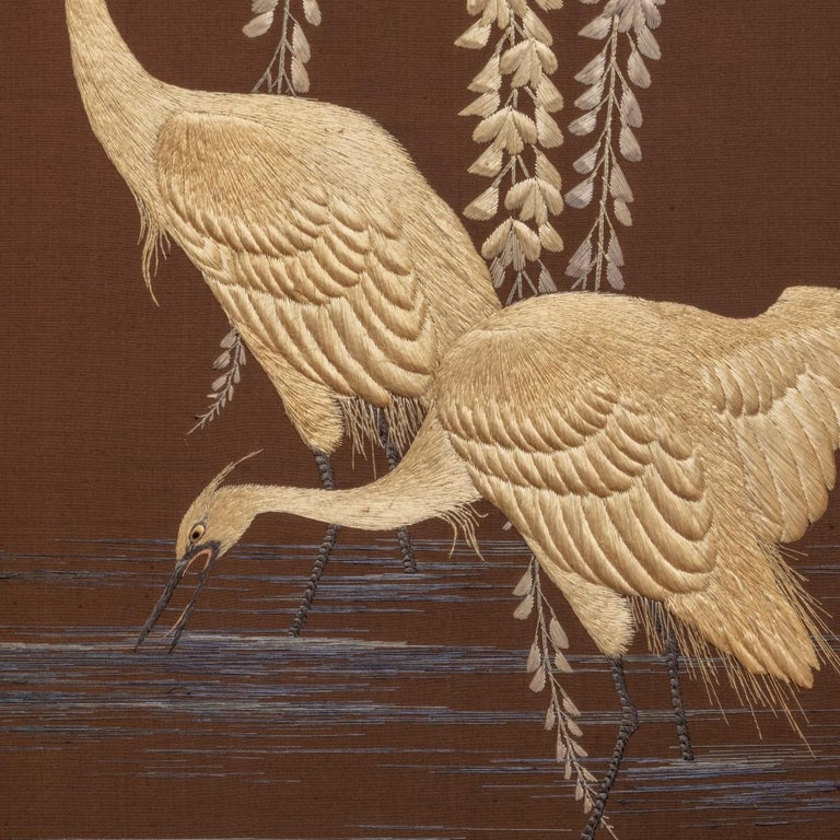 Showa Period Four Fold Embroidered Screen In Good Condition For Sale In Lymington, Hampshire