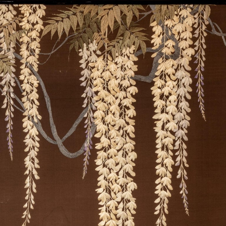 Showa Period Four Fold Embroidered Screen For Sale 2