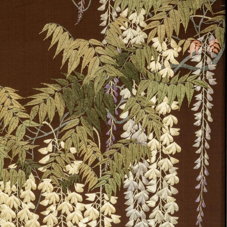 Showa Period Four Fold Embroidered Screen For Sale 3
