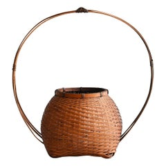 Showa Period in Japan, Small Bamboo Basket / Old Antique Flower Basket /Folk Art