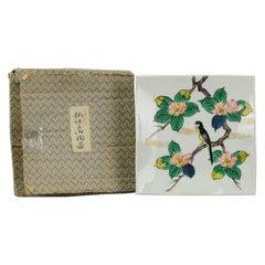 Showa period Japanese 20th Century Porcelain Kutani Bird Plate in Box