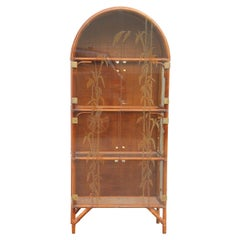Showcase Bookcase Italian Midcentury Design Glass Decorated Bamboo Rod, 1960s