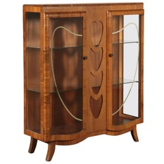 Showcase, Burl Veneer and Glass, Italy 1920s-1930s Italian Production