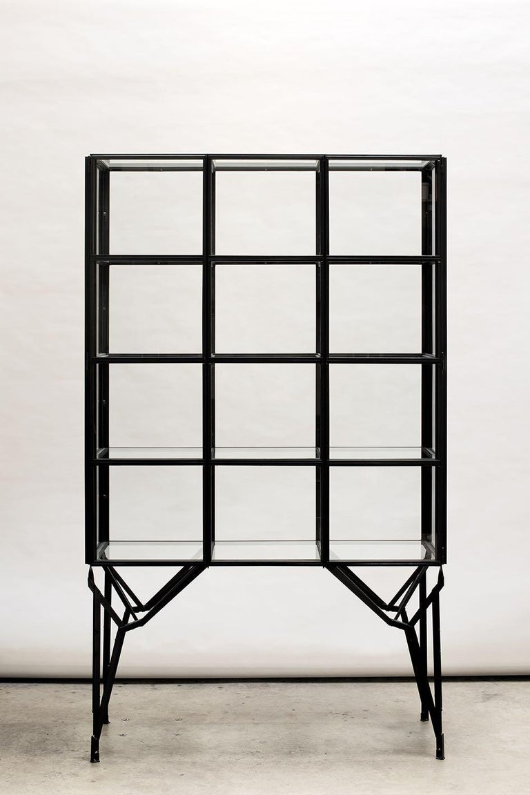 Dutch Showcase Cabinet in Warm Rolled Steel with Glass Panels, Handmade in Netherlands For Sale