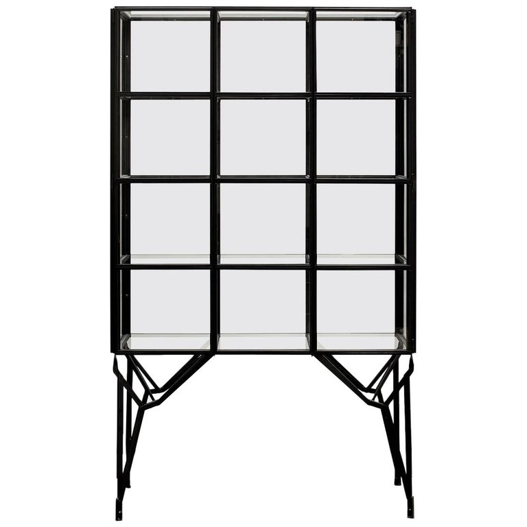 Showcase Cabinet in Warm Rolled Steel with Glass Panels, Handmade in Netherlands For Sale