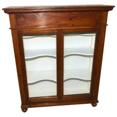 Showcase from 1880 in Italian Larch, Internal Part Color White, Three Shelves