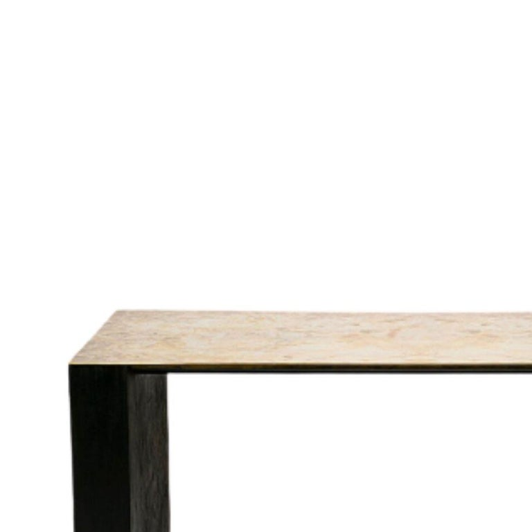 Showroom table by Rick Owens, 2007 Dimensions: L 183 x W 83 x H 75 cm Materials: Brass, plywood Weight: 77 kg  Note: comes in 4 different pieces  Rick Owens is a California-born fashion and furniture has developed a unique style that he
