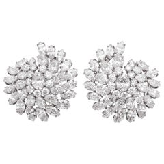 Showstopping GIA Certified Diamond Cluster and Platinum Earrings